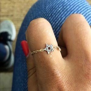 14K chain diamond star ring